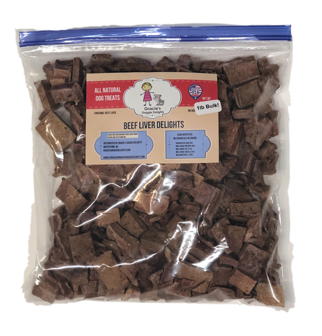 Gracie's Beef Liver Delights Freeze Dried Dog Treats 1lb. package