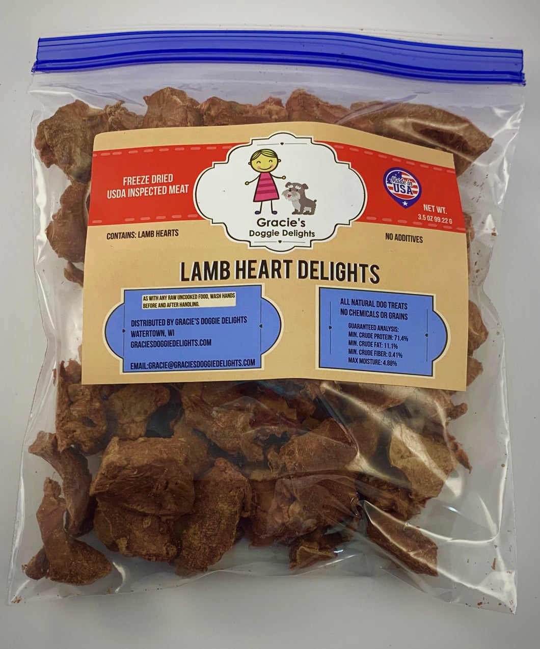 Gracie's Lamb Heart Delights Freeze Dried Dog Treats