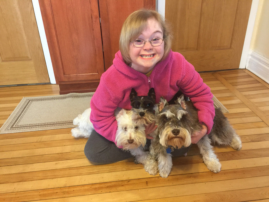 Gracie and her 3 rescue schnauzers