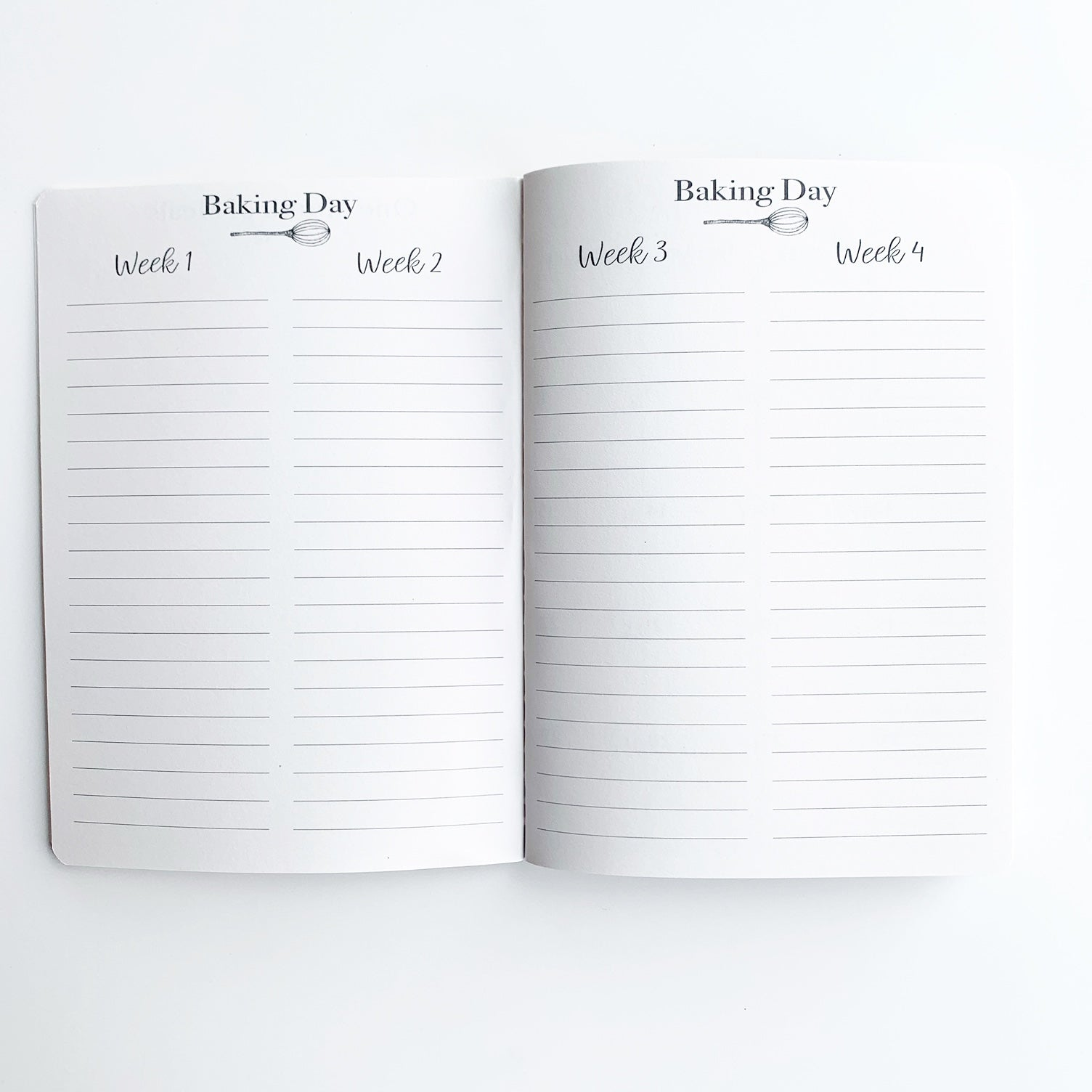 Baking Day Menu Planner Pages