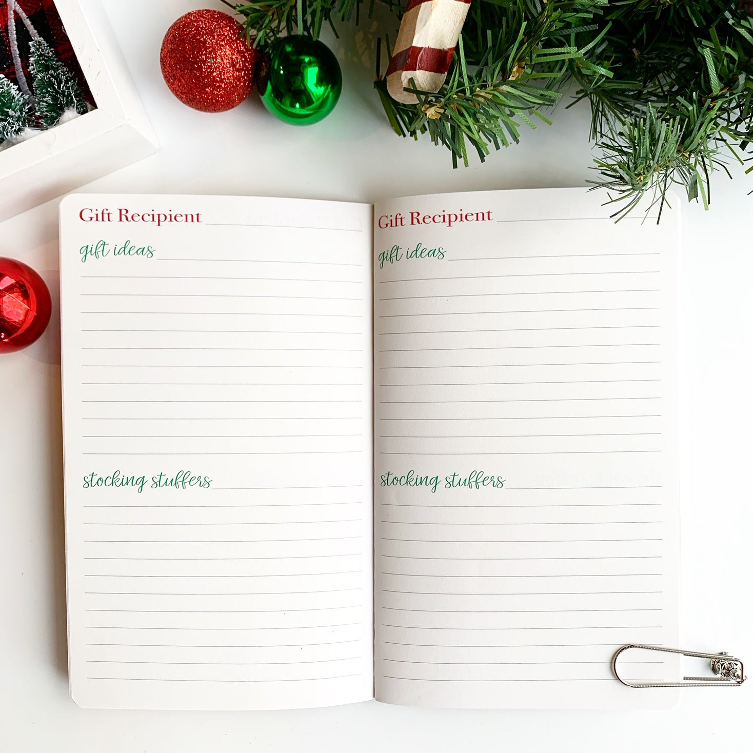 Christmas Planner Gift Recipient Pages