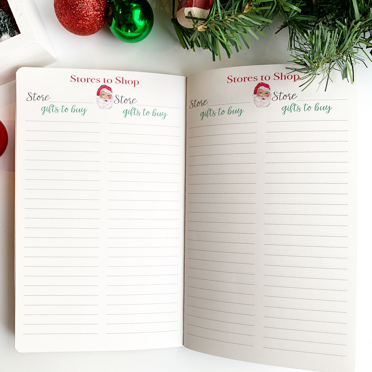 Christmas Planner Stores to Shop Pages