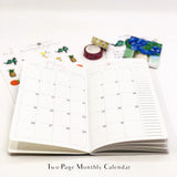 White Rose Buds on Black 12 month Planner