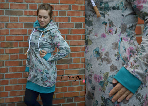 "eBook - Nähen - La Silla von Schnittgeflüster - Hoodiekleid - Hoodie - Damen - Schnittmuster - Sweat/French Terry ""Blumenfee"" - Glückpunkt."