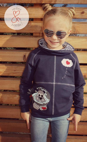 "Applikationsvorlage - ""Löwe"" - Dschungel - Kinder - Applizieren - Applikation - TiLu Design - ""Tetrands filius"" - Hoodie & Basic-Pulli - Elfriede und Fridolin - Nähen - Kinder - Glückpunkt."