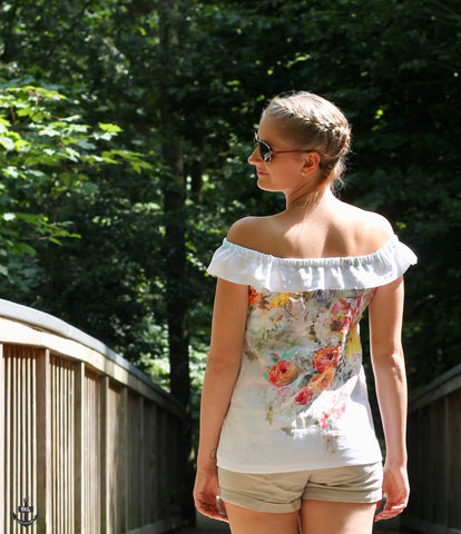 "Freebook - ""You"" - Top - Frau Ninchen aus unserem Leinen ""Flower Parade""  - Kleid - Top - Shirt - Freebook - Offschoulder - Sommer - Frau Ninchen"