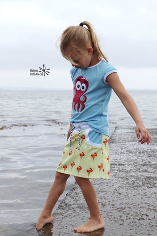 "Jersey ""Sweet Dreams"", Jersey ""Basic Love"", eBook - ""Paola"" - Shirt/Kleid/Rock - Piechens - Schnitt & Schnittmuster - Kombi-Plotterdatei - ""Sea Friends"" - Meerestiere - Freebook ""Sweat Rock"" LinKim - Plotten/Nähen für Kinder - Mädchen - Glückpunkt."