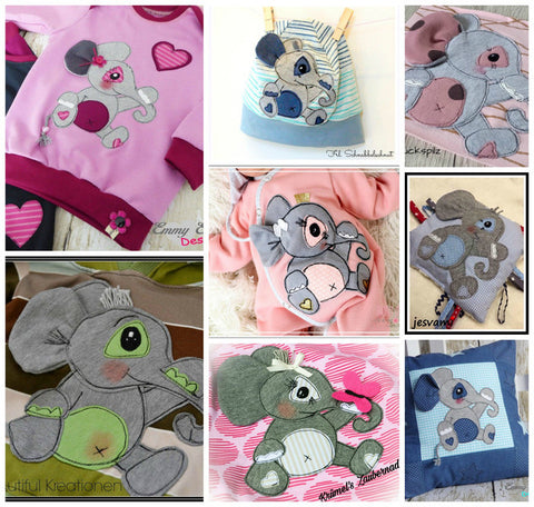 "Applikationsvorlage - ""Elefant"" - Törööööhhh - Kuscheltier - Kinder - Applizieren - Applikation - TiLu Design"