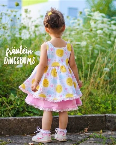 eBook - Sonnentanz - From Heart to Needle - Kleid - Drehkleid - Raffungen - Tellerrock - Webwarenkleid - Webware - Jersey - Rüschen - Lagen - Lagenkleid - lange Ärmel oder Puffärmel - Knopfleiste - Nähen für Kinder/Mädchen - Glückpunkt.