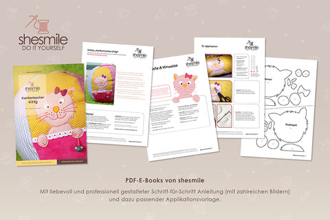 "Applikationsvorlage - ""Katze Kantenhocker Kitty"" - Shesmile, Do it yourself - Glückpunkt."