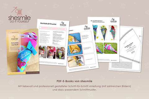 "eBook - ""Schultüte aus Stoff"" - Shesmile, Do it yourself - Glückpunkt."