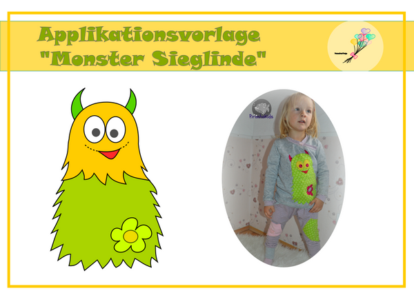 "Applikationsvorlage - ""Monster Sieglinde"" - Herzensbunt Design"