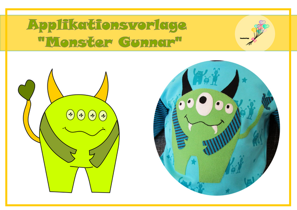 "Applikationsvorlage - ""Monster Gunnar"" - Herzensbunt Design"