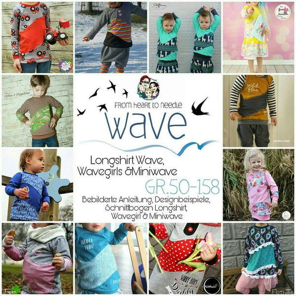 eBook - Wave & Wave Girls - Wavegirls - Longshirt - Shirt - Kleid - Nähen - Kinder - Baby - Schnittmuster - From Heart to Needle - Glückpunkt.