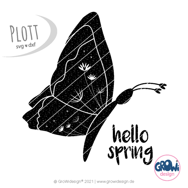 "Plotterdatei - ""Hello Spring Schmetterling"" - GroWidesign"