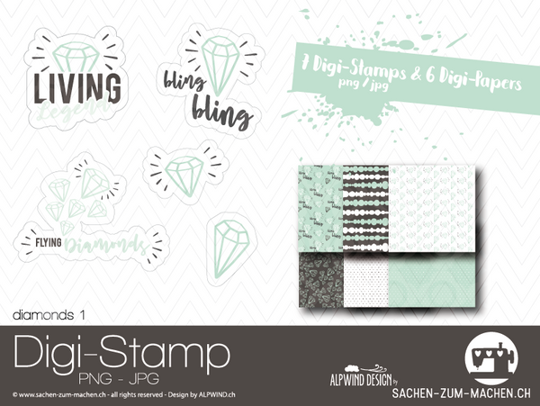 "DigiStamp - ""Diamonds 1"" - Alpwind"