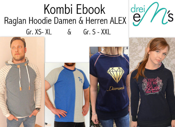 "Kombi-eBook - ""Alex Herren & Alex Damen"" - Hoodie - Drei eMs"