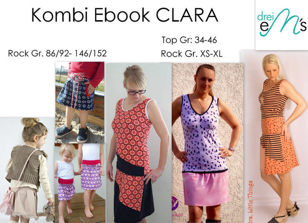 "Kombi-eBook - ""Rock + Top CLARA & Rock mini CLARA"" - Rock,Shirt - Drei eMs - Glückpunkt."