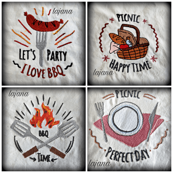 "Stickdatei - ""Barbeque-Set 10×10"" - Stixxie"