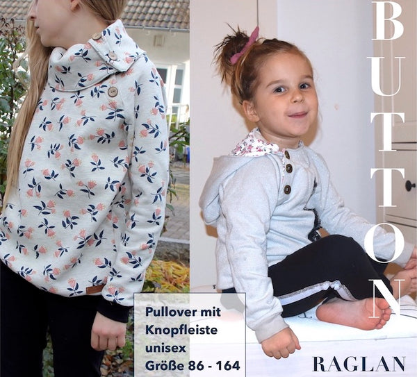 "eBook - ""BUTTON RAGLAN Kids"" - Pullover - Sara & Julez"
