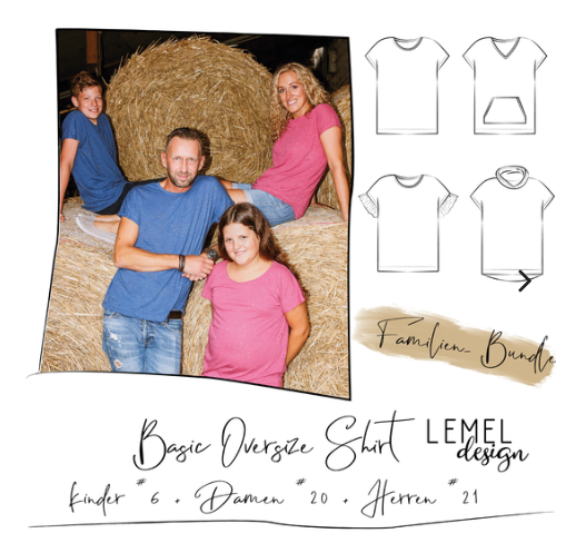 "Kombi-eBook - ""Basic Oversize Shirt Kinder, Damen und Herren - #6 + #20 + #21"" - Shirt - Lemel Design"