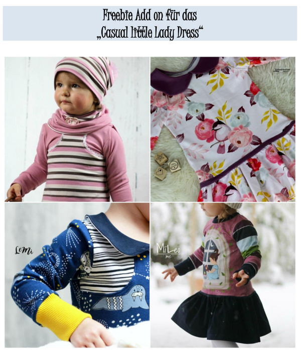 "Freebook - ""Add on`s Casual little Lady Dress"" - Kleid - Schneiderline - Glückpunkt."