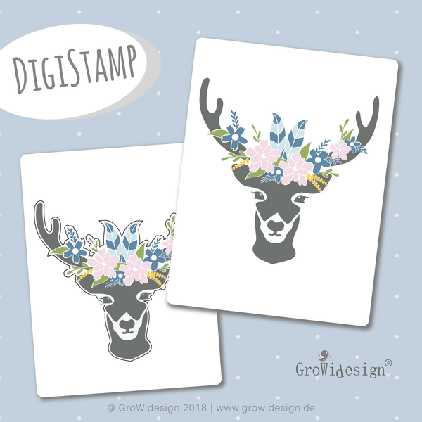 "DigiStamp - ""Boho Hirsch"" - GroWidesign - Glückpunkt."