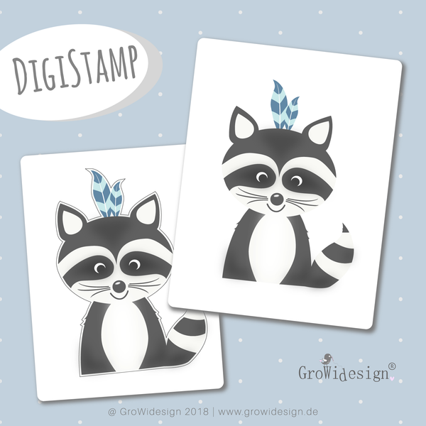 "DigiStamp - ""Boho Waschbär"" - GroWidesign - Glückpunkt."