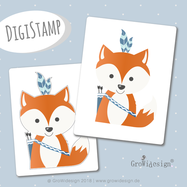 "DigiStamp - ""Boho Fuchs"" - GroWidesign - Glückpunkt."