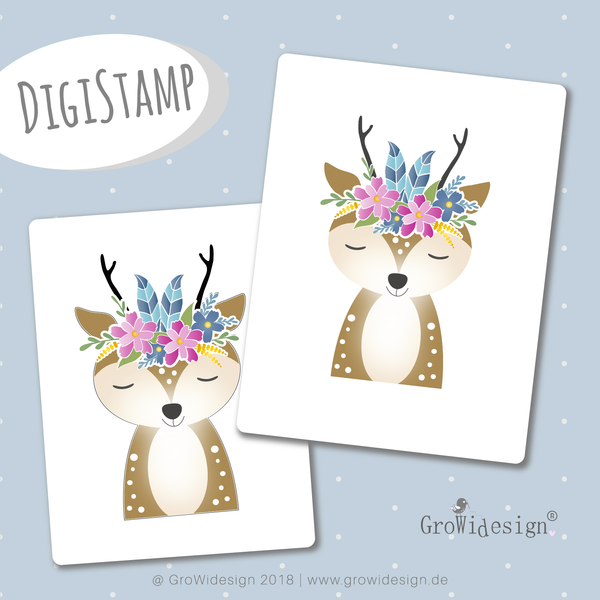 "DigiStamp - ""Boho Reh"" - GroWidesign - Glückpunkt."