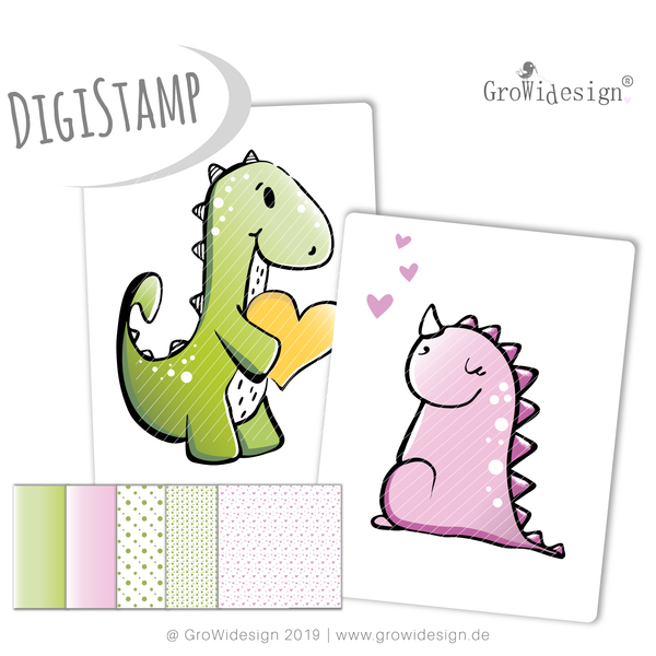 "DigiStamp - ""DINOliebe"" - GroWidesign - Glückpunkt."