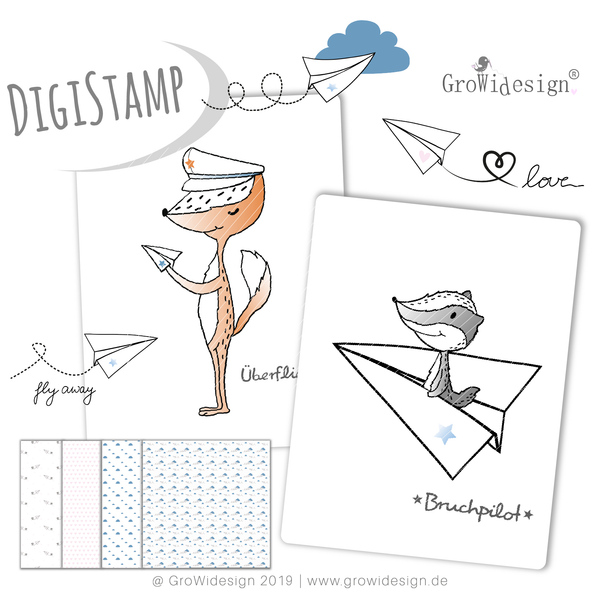 "DigiStamp - ""Papierflieger Megapack"" - GroWidesign - Glückpunkt."