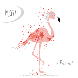 "Plotterdatei - ""Splash Flamingo"" - GroWidesign - Glückpunkt."