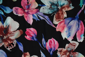 "Viscose - ""Black Aquarell"" - Blumen"