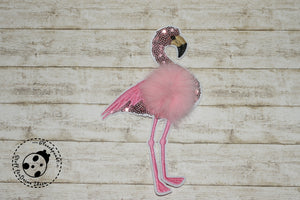 "3D-Applikation-Pailetten - ""Pink Flamingo"" - Bommel"