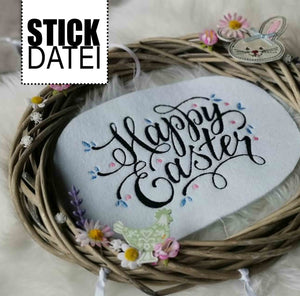 "Stickdatei - ""Happy Easter"" - Fadenspiel"