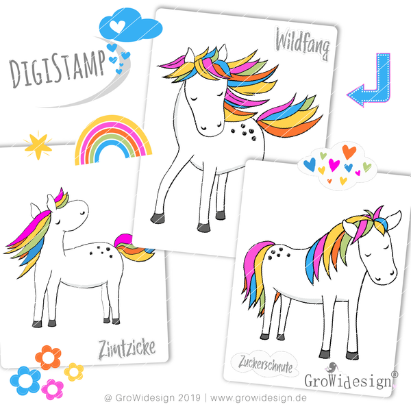 "DigiStamp - ""RegenbogenPFERD Megapack"" - GroWidesign"