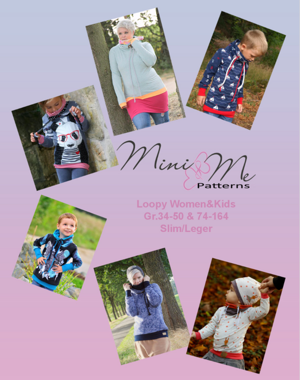 "Kombi-eBook - ""Loopy - Women & Kids"" - Pullover/Longpullover - Mini & Me Patterns - Nähen für Kinder/Damen/Frauen - Loop - Hoodiekleid -  Glückpunkt"