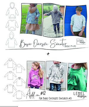 "Kombi-eBook - ""Basic Oversize Sweater #8 + Add-on #12"" - Pullover - Lemel Design"