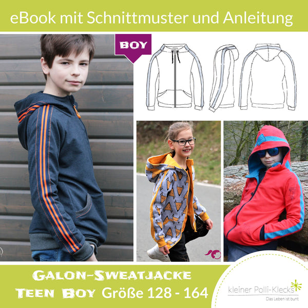 "eBook - ""Galon-Sweatjacke Teens BOY"" - Sweatjacke -  Kleiner Polli-Klecks"