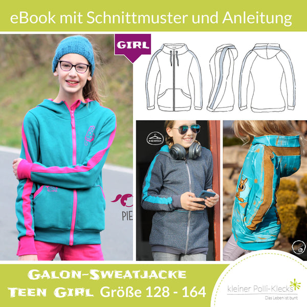 "eBook - ""Galon-Sweatjacke Teens GIRL"" - Sweatjacke -  Kleiner Polli-Klecks"
