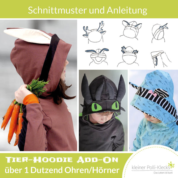 "eBook - ""Tier-Kapuze Add-On"" - Hoodie -  Kleiner Polli-Klecks"