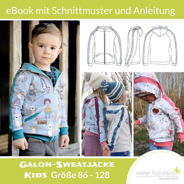 "eBook - ""Galon-Sweatjacke Kids"" - Sweatjacke -  Kleiner Polli-Klecks"