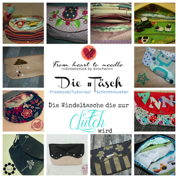"Freebook - ""Täsch"" - Windeltasche/Clutch - From Heart to Needle"