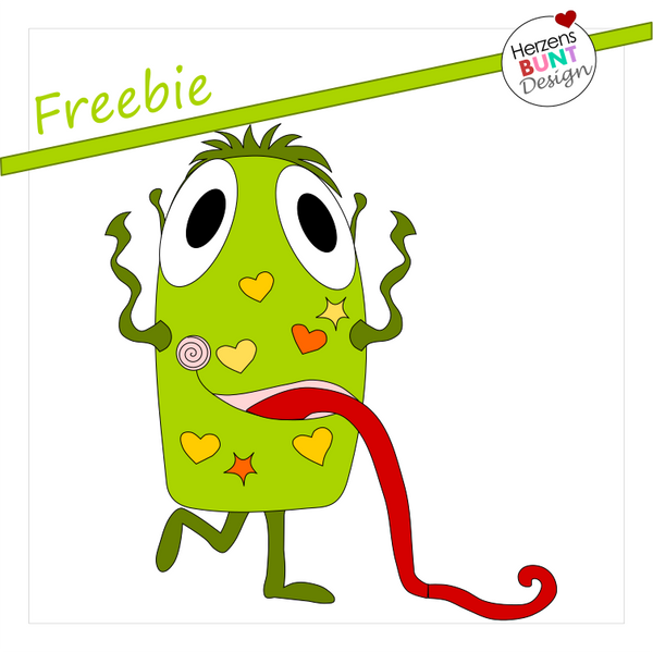 "Freebook/Freebie - Applikationsvorlage - ""Monster Howie"" - Herzensbunt Design"