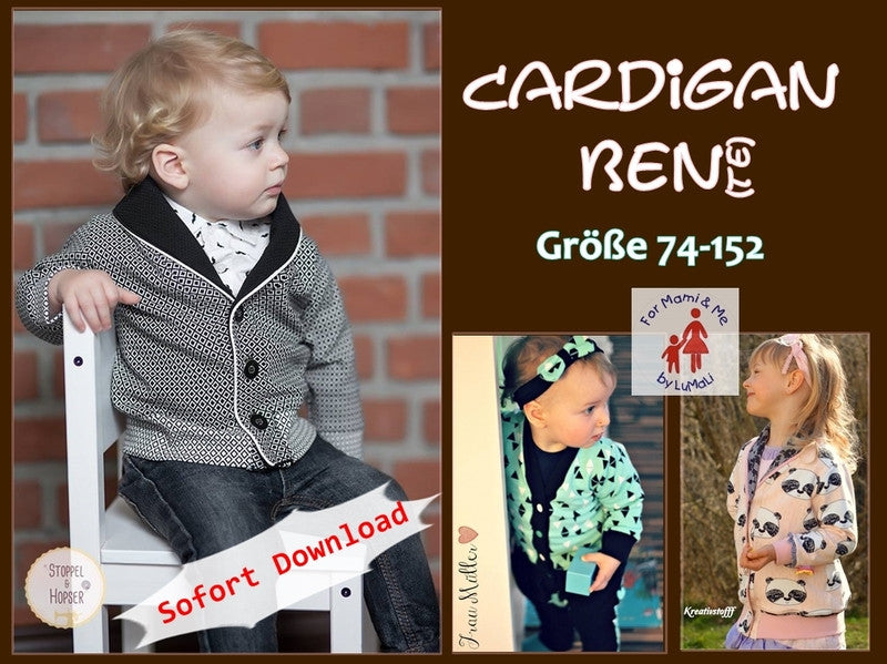 cardigan diy weste schnitt schnittmuster ebook lumali jacke sweat snaps knöpfe for mami and me
