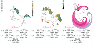 "Stickdatei - ""Einhorn  Set - Pummelcorns"" - Stickzebra"