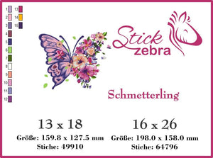 "Stickdatei - ""Schmetterling"" - Stickzebra"