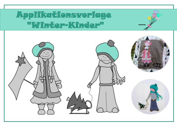 "Applikationsvorlage - ""Winter-Kinder"" - Herzensbunt Design"