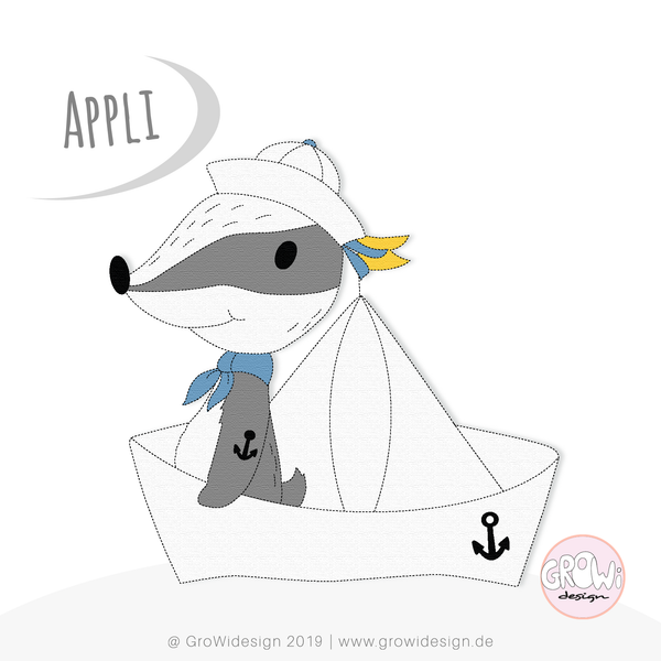 "Applikationsvorlage ""Ahoi Dachs"" GroWidesign - Appli - Applikation - Applizieren - Kinder - Mädchen/Jungen - Maritim - Dachs- Anker - Paperboat - Papierboot - Anker - Urlaub - Meer -  Bügelvlies ""Vliesofix"", Stickvlies - PDF inkl. Kurzanleitung und Applikationsvorlage - Glückpunkt."